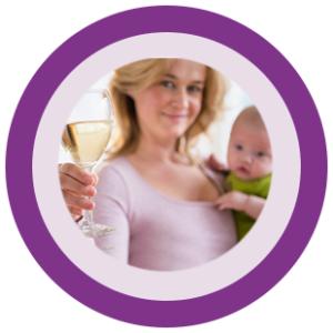 Image of a mom drinking wine